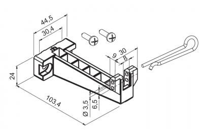 Soporte para la parte inferior con bisagras Aplicación Motor WAY Mingardi Micro