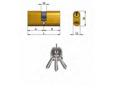 Doble Cilindro Omec Latón Oval 5 pernos 70mm L 27/43