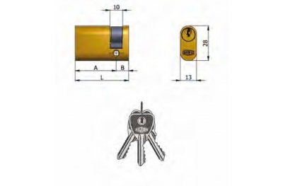 La mitad cilindro Omec Latón Oval 5 pernos 37mm L 27/10