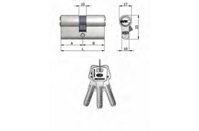 Doble Cilindro Omec latón níquel en forma de 6 pernos 90mm L 40/50
