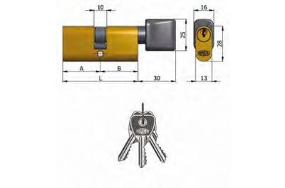 Doble Cilindro Omec con perilla de latón oval 5 pernos 60mm L 30/30