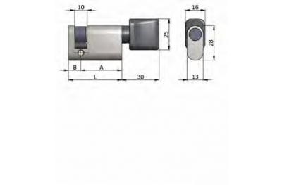 La mitad cilindro Omec con perilla de latón oval níquel 40mm L 30/10