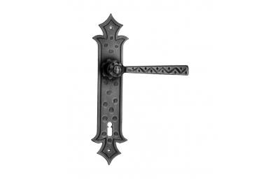 501 manija de la puerta Galbusera en la placa de hierro forjado Arte