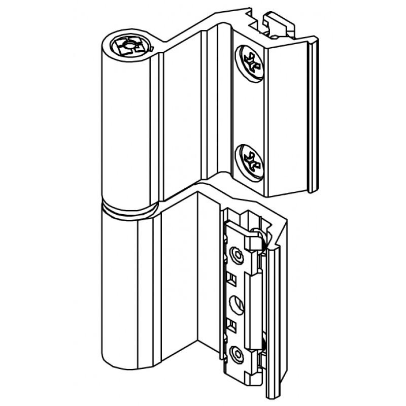 Bisagra Base Flash CE Art.00128U Giesse; Cámara Europea, para Aluminio.