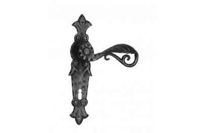 505 manija de la puerta Galbusera en la placa de hierro forjado Arte