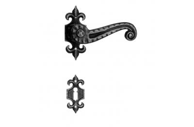 901 manija de la puerta Galbusera con roseta y la boquilla Hierro forjado Arte