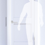 Ama Satin Chrome - Tirador de puerta en rosetón del diseñador de arquitectura Andrea Maffei para Colombo Design