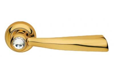 Elika Crystal Oro Brillo Manija de Puerta en Rosette Linea Calì Crystal