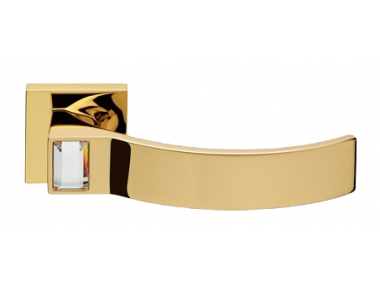 Elios Crystal Oro Brillo Manija de Puerta en Rosette Linea Calì Crystal