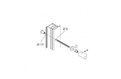 Kit de fijación PBA 01 sola manija A través de puertas de aluminio, Hierro, Madera
