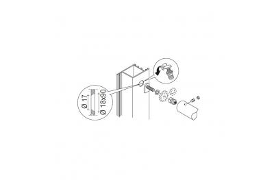 Kit de fijación PBA 03 sola manija no a través de puertas de cualquier material