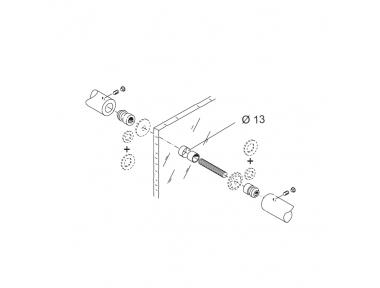 Kit de fijación PBA 04 por sola manija contrastada para puertas de vidrio