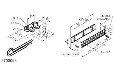 Kit universal para aplicaciones en las ventanas con bisagras MANERA Mingardi