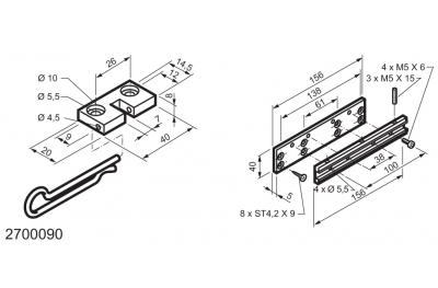 Kit universal para aplicaciones en las ventanas con bisagras MANERA Mingardi Micro L y XL