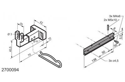Kit universal para aplicaciones en la parte inferior con bisagras ventanas MANERA Mingardi