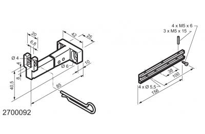 Kit universal para aplicaciones en la parte inferior con bisagras ventanas MANERA Mingardi Micro L