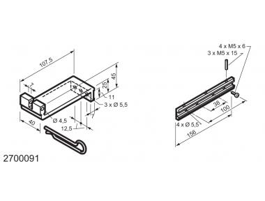 Kit universal para aplicaciones en la parte inferior con bisagras ventanas MANERA Mingardi Micro XL