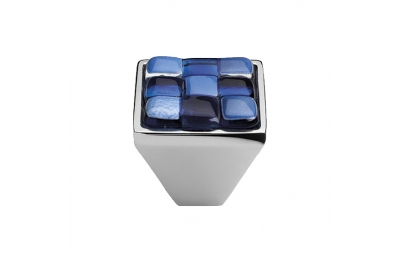 Mobile Linea Cali pomo de cristal BRERA AJEDREZ PB CR inserto 30 Cristal Azul Blanco