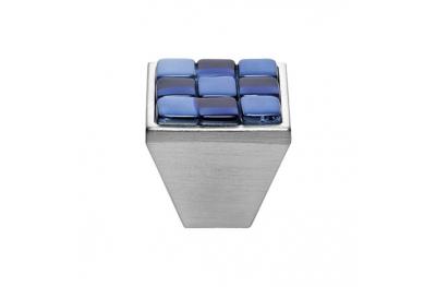 Mobile Linea Cali pomo de cristal BRERA AJEDREZ PB 30 CS inserto de vidrio blanco azul