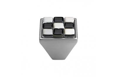 mando móvil Linea Cali Crystal BRERA AJEDREZ PB 29 CS inserto de vidrio Negro Blanco