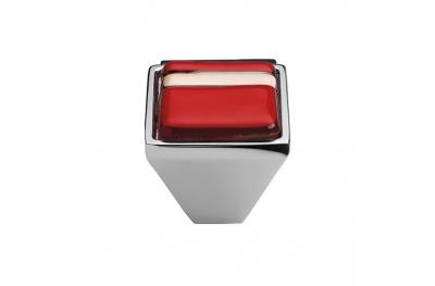 Mobile Linea Cali pomo de cristal BRERA LINEAL PB 21Cr inserto de vidrio rojo