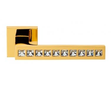 Reflex Oro Brillo Manija de Puerta en Rosette Linea Calì Crystal