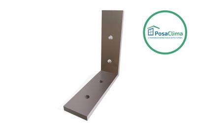 Soporte de esquina de aluminio de 80x80 mm para contramarco Klima Pro