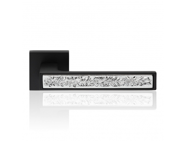 Zen Fusión Matt Negro Asa de puerta en roseta con sistema de montaje ultra-Click-Clack Linea Cali Diseño