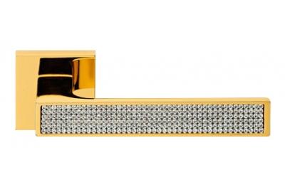 Zen Mesh Oro Brillo Manija de Puerta en Rosette Linea Calì Crystal